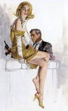 woman and man with gun 1950s